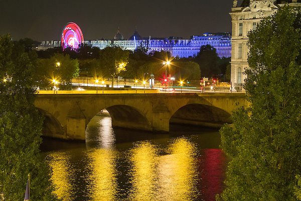 France, Paris.  Room view. <br /> Photos from your hotel room are a great way to personalize your travel photos and post on social media. There are always more city lights on after sunset, than before sunrise.<br /> The Seine River and Tulieres Gardens.
