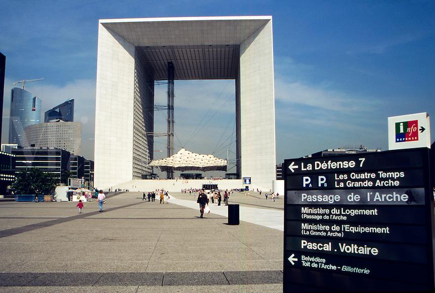 La Grande Arch de La Defense, in Paris's planned community satellite suburb of La Defense, Paris, France.