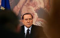 Il Presidente del Consiglio Silvio Berlusconi tiene una conferenza stampa a Palazzo Chigi, Roma, 6 ottobre 2010..Italian Premier Silvio Berlusconi attends a press conference at Chigi Palace, Rome, 6 october 2010..UPDATE IMAGES PRESS/Riccardo De Luca