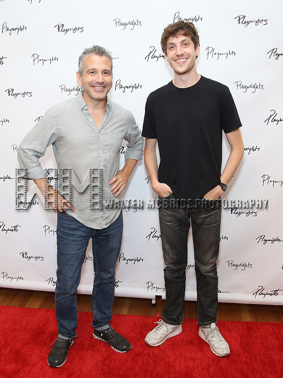 Director David Cromer and playwright Max Posner during the first day of rehearsals for the Playwrights Horizons production of 'The Treasurer' on August 1, 2017 at the Playwrights rehearsal studio in New York City.