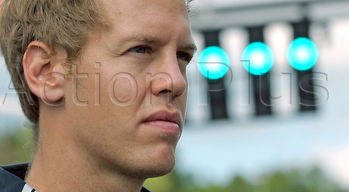 German Formula One driver Sebastian Vettel of Red Bull Racing walks on the track at the Spa-Francorchamps circuit near Spa, Belgium, 27th August 2009. The Grand Prix of Belgium will take place on Sunday 30th August 2009. Photo: PETER STEFFEN/ActionPlus. UK Licenses Only.