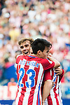 Antoine Griezmann of Atletico Madrid celebrates with Nicolas Gaitan and Kevin Gameiro during their La Liga match between Atletico Madrid and Deportivo de la Coruna at the Vicente Calderon Stadium on 25 September 2016 in Madrid, Spain. Photo by Diego Gonzalez Souto / Power Sport Images