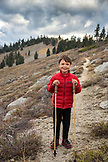 USA, Oregon, Ashland, portrait of 6 year old Christian Rego aka Buddy Backpacker while hiking the Pacific Crest Trail near Ashland Oregon with his mom Andrea Rego and Dion, Christian will be the youngest hiker to complete the Pacific Crest Trail in a single season