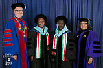 Left to right, the Rev. Dennis H. Holtschneider, C.M., president of DePaul, Sr. Agnes Njeri, Sr. Alice Onzoyo, Marisa Alicea, dean of the School for New Learning. DePaul University School for New Learning held its commencement ceremony, Saturday, June 10, 2017, at the Rosemont Theatre in Rosemont, IL. The Rev. Dennis H. Holtschneider, C.M., president of DePaul, conferred the degrees. (DePaul University/Jeff Carrion)