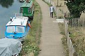 Boats on the River Lee Navigation, Hackney Wick, London.