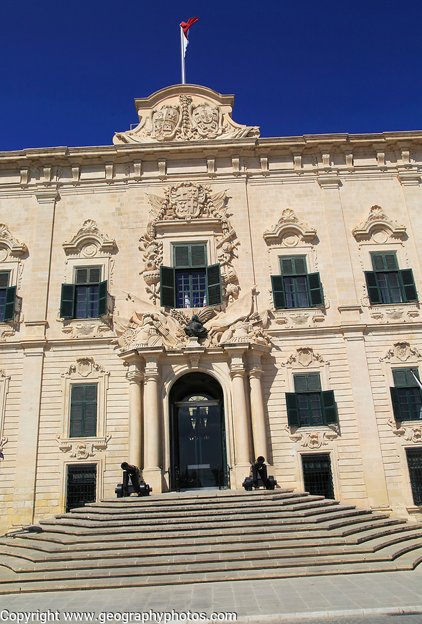 Auberge de Castille palace in city centre of Valletta, Malta completed in 1744