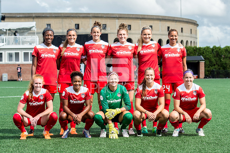 Boston, MA - Saturday July 01, 2017: Washington Spirit starting eleven during a regular season National Women's Soccer League (NWSL) match between the Boston Breakers and the Washington Spirit at Jordan Field.
