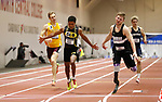 NAPERVILLE, IL - MARCH 11:  Marquis Brown of Texas Lutheran and A.J. Digby of Mount Union fight for first place in the men's 60 meter dash Division III Men's and Women's Indoor Track and Field Championship held at the Res/Rec Center on the North Central College campus on March 11, 2017 in Naperville, Illinois. (Photo by Steve Woltmann/NCAA Photos via Getty Images)