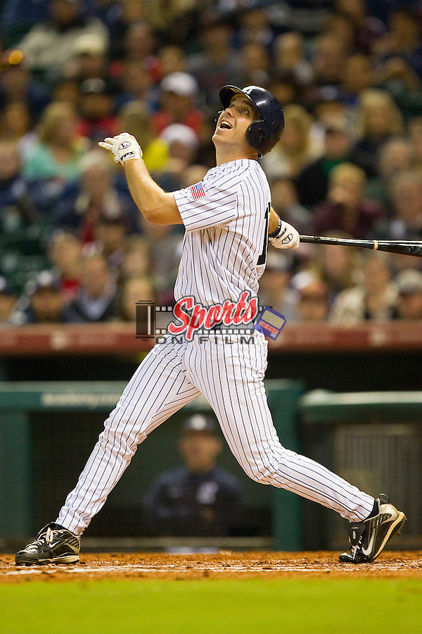 Ryan Lewis #16 of the Rice Owls follows through on his swing against the Texas A&M Aggies at Minute Maid Park on March 5, 2011 in Houston, Texas.  Photo by Brian Westerholt / Four Seam Images