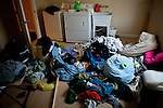 Dirty laundry piles up in a rental home shared by University of California, Merced students in Merced, Calif., October 29, 2011.