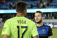 SAN JOSE, CA - JUNE 26: Daniel Vega #17, Vako #11 during a Major League Soccer (MLS) match between the San Jose Earthquakes and the Houston Dynamo on June 26, 2019 at Avaya Stadium in San Jose, California.
