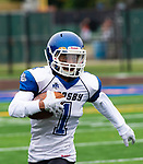 WATERBURY,  CT-101219JS15- Crosby's Jose Soares (1) runs for a first down during their game with Sacred Heart-Kaynor's  Saturday at Municipal Stadium in Waterbury.<br /> Jim Shannon Republican-American