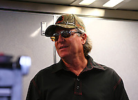 Apr 27, 2014; Baytown, TX, USA; Crew chief Richard Hogan for NHRA top fuel dragster driver Steve Torrence during the Spring Nationals at Royal Purple Raceway. Mandatory Credit: Mark J. Rebilas-