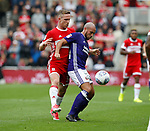 Samir Carruthers of Sheffield Utd and Adam Forshaw of Middlesbrough during the Championship match at the Riverside Stadium, Middlesbrough. Picture date: August 12th 2017. Picture credit should read: Simon Bellis/Sportimage