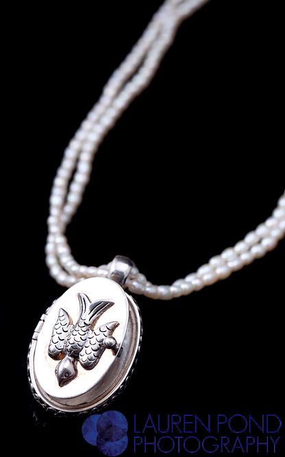 Cynthia Gale bird locket with pearls