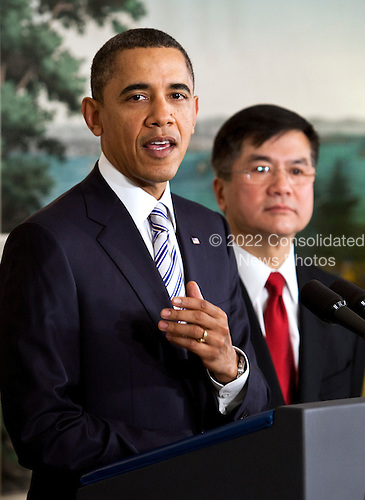 United States President Barack Obama, left, announces the nomination of Gary Locke, secretary of commerce, to be the next U.S. ambassador to China, at the White House in Washington, D.C., U.S., on Wednesday, March 9, 2011. If confirmed by the Senate, Locke would take over the diplomatic mission in a country that is a linchpin in Obama's trade policy..Credit: Joshua Roberts / Pool via CNP