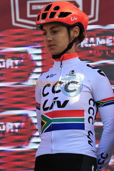 South African Champion Ashleigh Moolman Pasio (RSA) CCC-Liv at sign on before the Strade Bianche Women Elite 2019 running 133km from Siena to Siena, held over the white gravel roads of Tuscany, Italy. 9th March 2019.<br /> Picture: Eoin Clarke | Cyclefile<br /> <br /> <br /> All photos usage must carry mandatory copyright credit (© Cyclefile | Eoin Clarke)