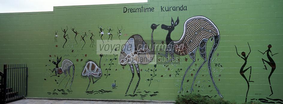 Océanie/Australie/Queensland/Kuranda: detail d'un mur pein représentant la faune de la Rainforest