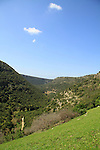 Israel, Upper Galilee, a view of Nahal Kziv from Hamikdash cave