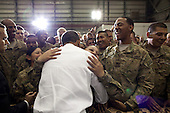 "May 1, 2012.""A soldier hugs the President as he greeted U.S. troops at Bagram Air Field in Afghanistan."" .Mandatory Credit: Pete Souza - White House via CNP"