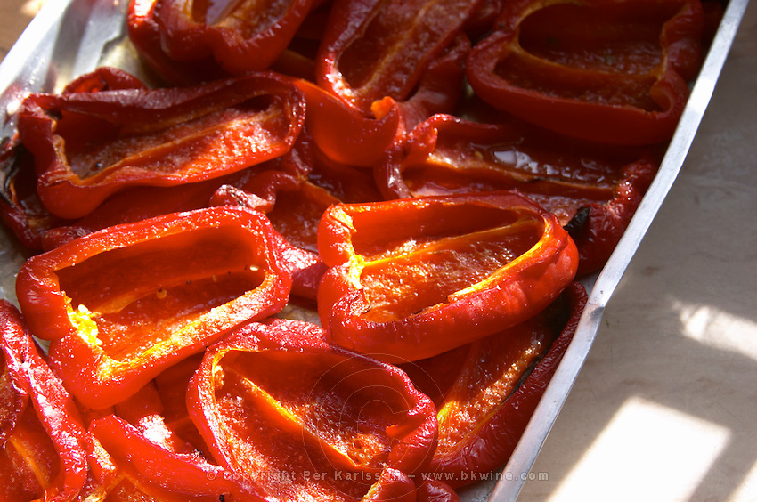 Oven grilled bell peppers bellpeppers red. Bodega Pisano Winery, Progreso, Uruguay, South America