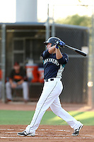 Alex Jackson #17 of the AZL Mariners bats against the AZL Giants at Peoria Sports Complex on July 10, 2014 in Peoria, Arizona. (Larry Goren/Four Seam Images)