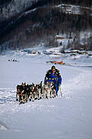 Martin Buser on Yukon River Near Ruby Alaska<br /> 2004 Iditarod