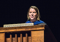 Clair Morrissey, assistant professor of philosophy. Incoming first years listen as Occidental College faculty, leadership and the Glee Club welcome them during Convocation, Aug. 26, 2015 in Thorne Hall. The annual tradition starts the new school year. This year, the theme will be sustainability, which the guest speakers talked about.<br /> (Photo by Marc Campos, Occidental College Photographer)