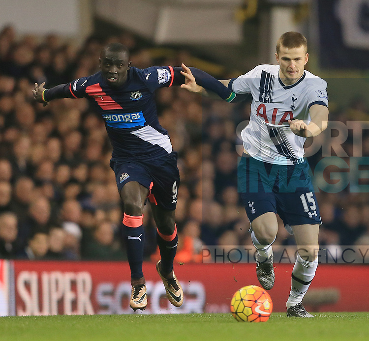 Tottenham's Eric Dier tussles with Newcastle's Papiss Cisse<br /> <br /> Barclays Premier League- Tottenham Hotspur vs Newcastle United - White Hart Lane - England - 13th December 2015 - Picture David Klein/Sportimage