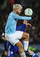 Manchester City's Sergio Aguero competing with Leicester City's Christian Fuchs<br /> <br /> Photographer Andrew Kearns/CameraSport<br /> <br /> English League Cup - Carabao Cup Quarter Final - Leicester City v Manchester City - Tuesday 18th December 2018 - King Power Stadium - Leicester<br />  <br /> World Copyright &copy; 2018 CameraSport. All rights reserved. 43 Linden Ave. Countesthorpe. Leicester. England. LE8 5PG - Tel: +44 (0) 116 277 4147 - admin@camerasport.com - www.camerasport.com