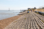 Concrete coastal defences against erosion at Felixstowe Ferry, Suffolk, England, UK