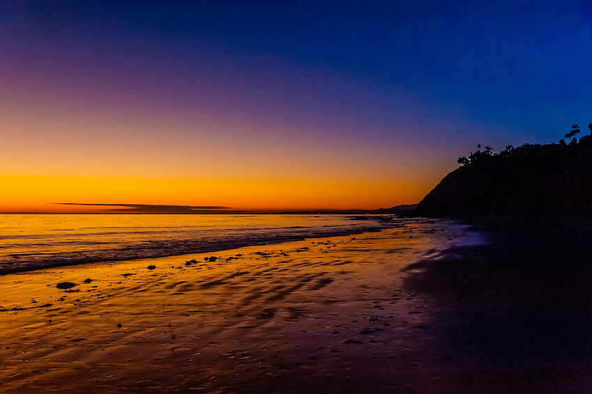 Twilight, Hendry's Beach (Arroyo Burro State Beach Park), Santa Barbara, California USA.