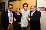 CORAL GABLES, FL - JULY 17: (EXCLUSIVE) Humberto M. Speziani, wife, Austin Mahone and Lorenzo Muniz poses backstage during the Premios Juventud 2014 at The BankUnited Center on July 17, 2014 in Coral Gables, Florida.  (Photo by Johnny Louis/jlnphotography.com)