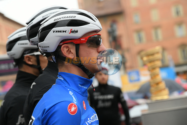 Giulio Ciccone (ITA) Trek-Segafredo wears the Mountains Maglia Azzurra at sign on before a wet Stage 2 of the 2019 Giro d'Italia, running 205km from Bologna to Fucecchio, Italy. 12th May 2019<br /> Picture: Gian Mattia D'Alberto/LaPresse | Cyclefile<br /> <br /> All photos usage must carry mandatory copyright credit (© Cyclefile | Gian Mattia D'Alberto/LaPresse)