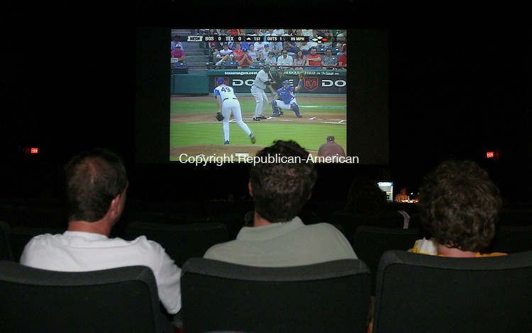 SOUTHINGTON, CT 05 July 2005 -070505BZ05-  Red Sox fans watch the game on the large screen at Showcase Cinemas in Southington Wednesday night.<br /> Jamison C. Bazinet Photo
