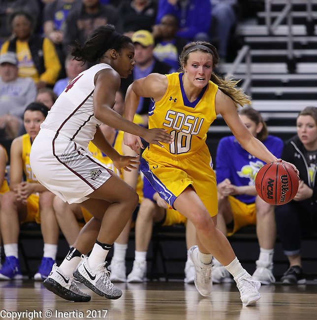 SIOUX FALLS, SD: MARCH 6: Kerri Young #10 of South Dakota State drives on Danielle Lawrence #14 of IUPUI during the Summit League Basketball Championship on March 6, 2017 at the Denny Sanford Premier Center in Sioux Falls, SD. (Photo by Dick Carlson/Inertia)