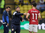 Bristol City's Lee Johnson talks to Callum O'Dowda during the Carabao cup match at Vicarage Road Stadium, Watford. Picture date 22nd August 2017. Picture credit should read: David Klein/Sportimage