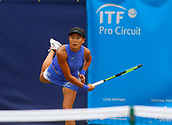 June 13th 2017, The Northern Lawn tennis Club, Manchester, England; ITF Womens tennis tournament; Number one seed Kai-Chen Chang (TPE) serves during her first round singles match against Danielle Lao (USA); Chang won in straight sets