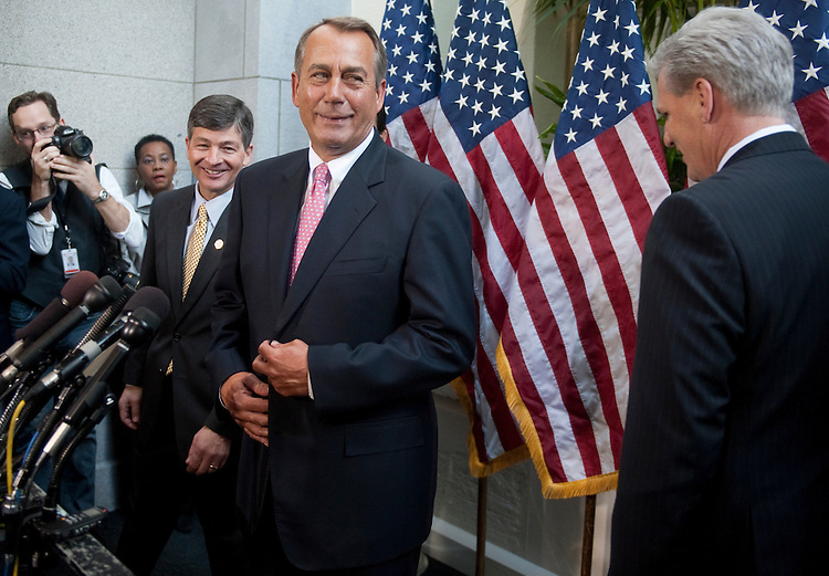 UNITED STATES – JANUARY 18: From left, House Republican Conference chair Jeb Hensarling, R-Texas, Speaker of the House John Boehner, R-Ohio, and House Majority Whip Kevin McCarthy, R-Calif., arrive at the microphones to speak with reporters following the House Republican Conference meeting in the Capitol on Thursday, Jan. 18, 2012. Photo by Bill Clark)