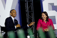 United States President Barack Obama and Dr. Katharine Hayhoe  participate in a panel discussion  on climate change with Leonardo DiCaprio as part of the White House South by South Lawn (SXSL) event about the importance of protecting the one planet we&rsquo;ve got for future generations, in the South Lawn of the White House, Washington DC, October 3, 2016. <br /> Credit: Aude Guerrucci / Pool via CNP /MediaPunch