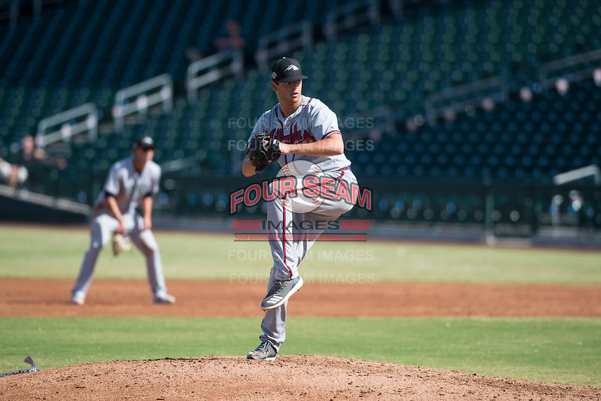 Peoria Javelinas starting pitcher Jeremy Walker (58), of the Atlanta Braves organization, delivers a pitch during an Arizona Fall League game against the Mesa Solar Sox at Sloan Park on October 24, 2018 in Mesa, Arizona. Mesa defeated Peoria 4-3. (Zachary Lucy/Four Seam Images)