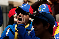 A Venezuela's government opposition member shouts slogans in a rally against president Maduro and his government in front of Venezuela's consulate in New York,  04/19/2015. Eduardo MunozAlvarez/VIEWpress