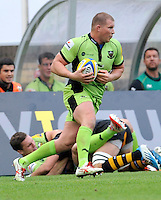 High Wycombe, England. Dylan Hartley (Captain) of Northampton Saints during the Aviva Premiership match between Wasps and Northampton Saints at Adams Park on September 14, 2014 in High Wycombe, England.