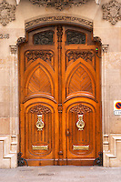 Modernista door. Barcelona, Catalonia, Spain.