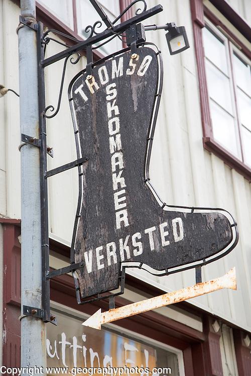 Boot sign for shoemaker cobbler workshop,  Tromso, Norway