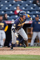 Brian Celsi (3) of the California Golden Bears starts down the first base line during the game against the Duke Blue Devils at Durham Bulls Athletic Park on February 20, 2016 in Durham, North Carolina.  The Blue Devils defeated the Golden Bears 6-5 in 10 innings.  (Brian Westerholt/Four Seam Images)