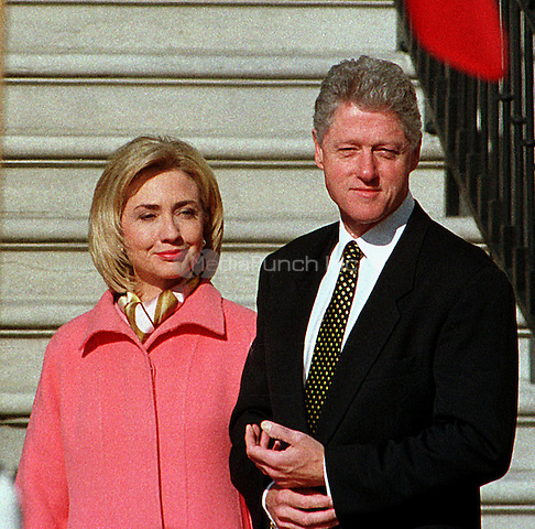 United States President Bill Clinton and first lady Hillary Rodham Clinton prepare to greet President Jiang Zemin of China who will arrive for a State Visit to the White House in Washington, D.C. on October 29, 1997..Credit: Ron Sachs / CNP/MediaPunch
