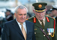 27/9/2006.An Taoiseach Bertie Ahern TD the Guard of Honour beside the L.E Eithne as part of an unveiling ceremony of Admiral William Brown who founded the Argentine Navy at Dublin's Docklands..Photo: Collins