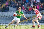 Donnchadh Walsh Kerry in action against Kevin Johnston Derry in round Two of the National Football league at Fitzgerald Stadium, Killarney on Sunday the 9th of February.