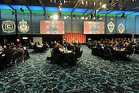 MLS teams management and coaches at tables making draft selections.. The 2012 MLS Superdraft was held on January 12, 2012 at The Kansas City Convention Center, Kansas City, MO.